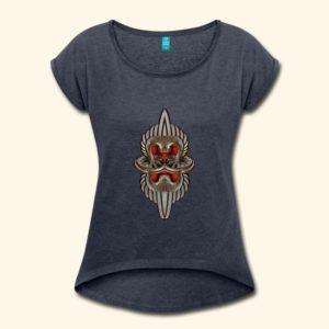 Anthrazit-farbenes Frauen T-Shirt mit U-Ausschnitt und einem rötlich-silbernen Wappen