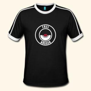 Schwarzes Männer T-Shirt mit weißem Kragen und Ärmelbund. Motiv wie das Freischwimmer-Abzeichen, aber mit der Aufschrift Freiküsser und einem roten Kussmund als Motiv