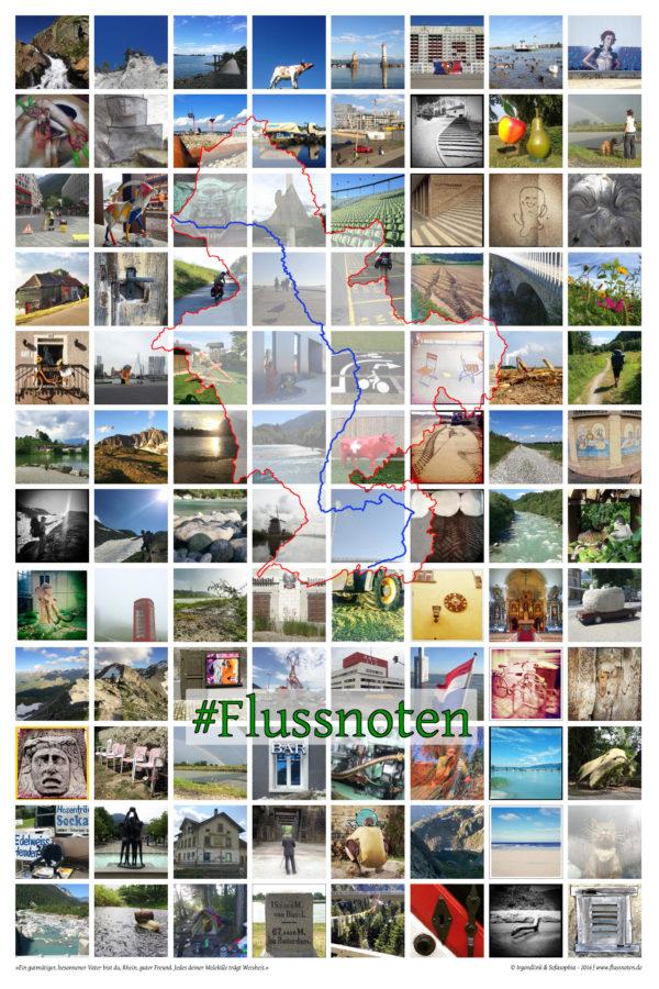 Auf einem Raster mit vielen bunten quadratischen Bildern erkennt man dden Umriss des Flusssystems des Rheins. Es sieht aus wie ein Drache und zeigt alle dem Rhein zufließenden Gewässer. Schriftzug des Hashtags der Reise #Flussnoten in grüner Farbe