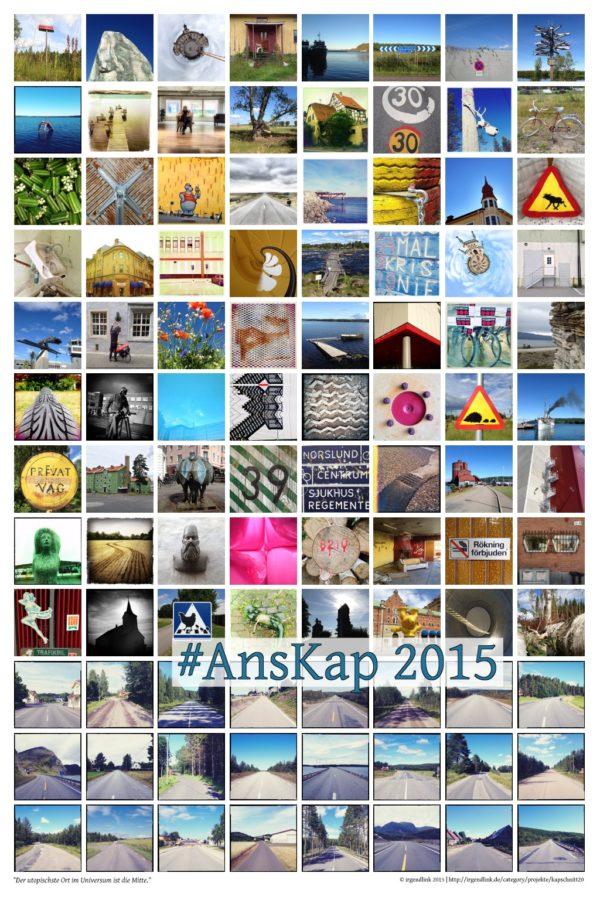 Viele bunte quadratische Fotos im Raster angeordnet auf einem hochkantigen Bild. Darauf im unteren Drittel der Schriftzug #AnsKap 2015 (Hashtag des Reiseprojekts)