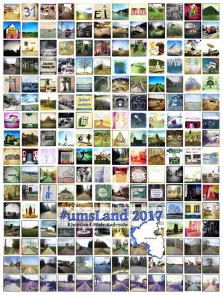 Im Raster sind quadratische Retro-Fotos zu sehen. Überblendet mit derSchriftzug UmsLand 2017 und einer vier mal vier Fotos überziehenden, halb durchsichtigen, weißen Silhouette, die ungefähr die Landesumrisse von Rheinland-Pfalz darstellt.
