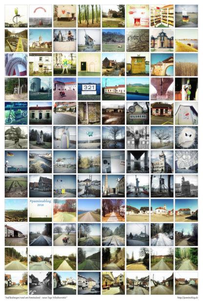 Viele quadratische Fotos, oft mit Retroeffekten verfremdet, angeordnet in acht Spalten und 12 Zeilen.