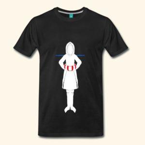 Schwarzes T-Shirt mit Aufdruck einer symmetrischen, weißen Figur, die einen Rettungsring trägt.