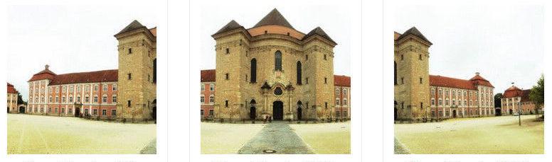 drei Bilder, die zusammen ein Panorama ergeben nebeneinander auf weißem Grund. Mit Überlappungen. Zu sehen ein beige-blasses Klostergebäude mit stattlichem Portal.