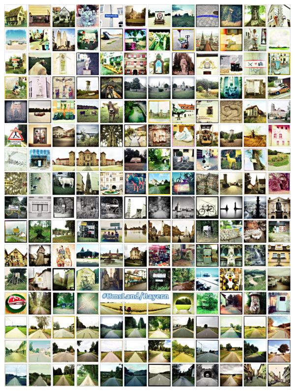 """Viele kleine quadratische Fotos, die im Rasterstil arrangiert sind. In der Bildmitte steht der Schriftzug """"UmsLand/Bayern über drei der Bilder."""