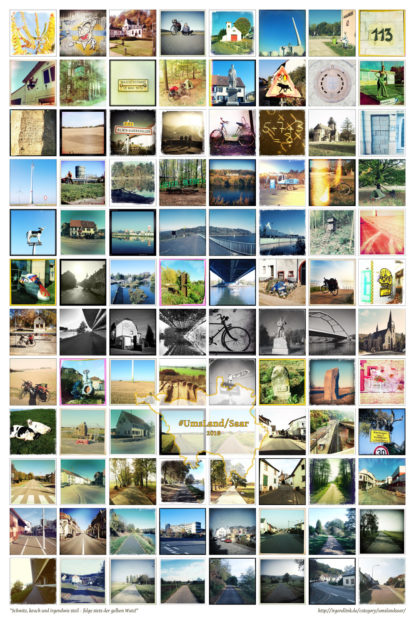 Viele quadratische Fotos, oft mit Retroeffekten verfremdet, angeordnet in acht Spalten und 12 Zeilen. Im unteren Bereich ist der Umriss des Saalands abgebildet. Darin der Titel UmsLand/Saar.