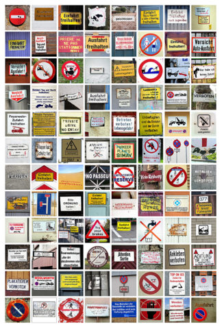 In einem Raster von acht Spalten und zwölf Zeilen sind quadratische, bunte Bilder von Verbotsschildern und beschrifteten Hinweistafeln angeordnet.