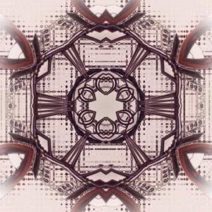 Vom ursprünglichen Bild, das ein Fahrrad zeigte, ist nichts mehr zu erkennen. Stattdessen eine Art Kaleidoskop-Effekt mit viel Symmetrie.