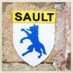 """Silhouette eines Fuchses oder eines ähnlichen Tiers, blau, im Profil, aufrecht stehend, rausgestreckte Zunge unter dem Schriftzug """"SAULT""""."""