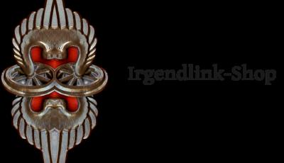 Hochkantiges, verschnörkeltes, silbergrau-rotes Wappen. Links daneben der Schriftzug Irgendlink-Shop. Jeden Tag ein Kunstwerk