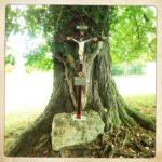 Jesuskreuz unter einem dicken Baum.