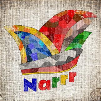 Karnevalls-Mütze-Grafik mit Polygonen in bunten Farben. Darunter der Schriftzug Narr mit drei R.