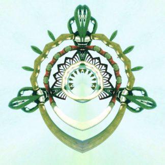 Eine halbrunde, sternförmige Struktur, die einem Wappen ähnelt auf weißem Hintergrund.