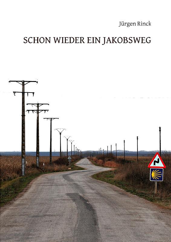Buchcover mit Titel. Eine gerade Straße begleitet von Telegrafenmasten im topfebenen Land. Unvermittelt unterbricht eine S-Kurve den Straßenverlauf. Ein Warnschild und ein Jakobsweghinweisschild stehen rechts.