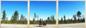 drei quadratische Bilder zeigen ein bepacktes Reiserad im Profil auf der Straße vor seichtem, nordischem Waldbewuchs und stahlblauem Himmel.
