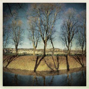 Mittleres von drei Bildern, die quer zu einem kanalisierten eingeböschten Fluss aufgenommen wurden. Auf der Böschung steht dystopisch düster eine unbelaubte Platanenallee.