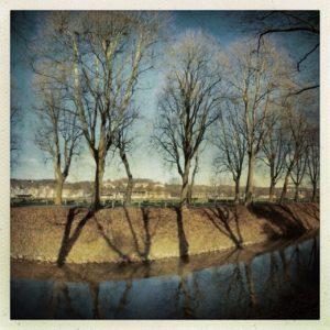 Rechtes von drei Bildern, die quer zu einem kanalisierten eingeböschten Fluss aufgenommen wurden. Auf der Böschung steht dystopisch düster eine unbelaubte Platanenallee.