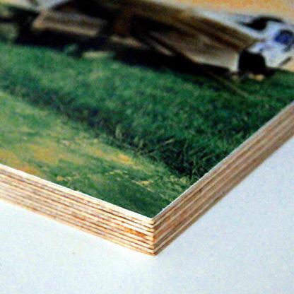 Die Kante eines aufgezogenen Bildes auf 12 mm dickem schichtverleimtem Holz.