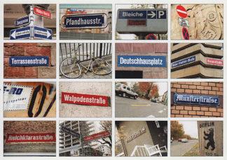 Auf einer querformatigen Postkarte sind sechzehn Bilder von Straßennamen in einem Raster von vier mal vier Bildern angeordnet. Der bestimmtende Farbton des Bilds sind Rot und Braun.