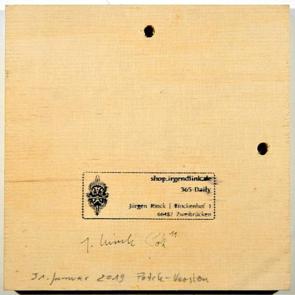 Bildrückseite mit Künstlersignaturen, Datum und Galeriestempel