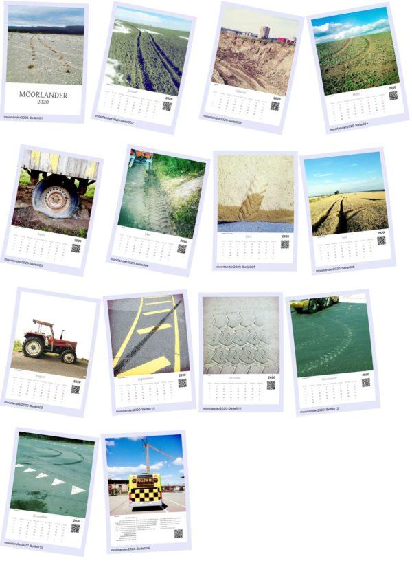 Im Polaroidstil sind die einzelnen Kalenderblätter en Miniature in vier Spalten und vier Reihen angeordnet. Zu sehen die Monatsmotive und sehr winzig das Kalendarium darunter in einem hochkantigen A-Format.