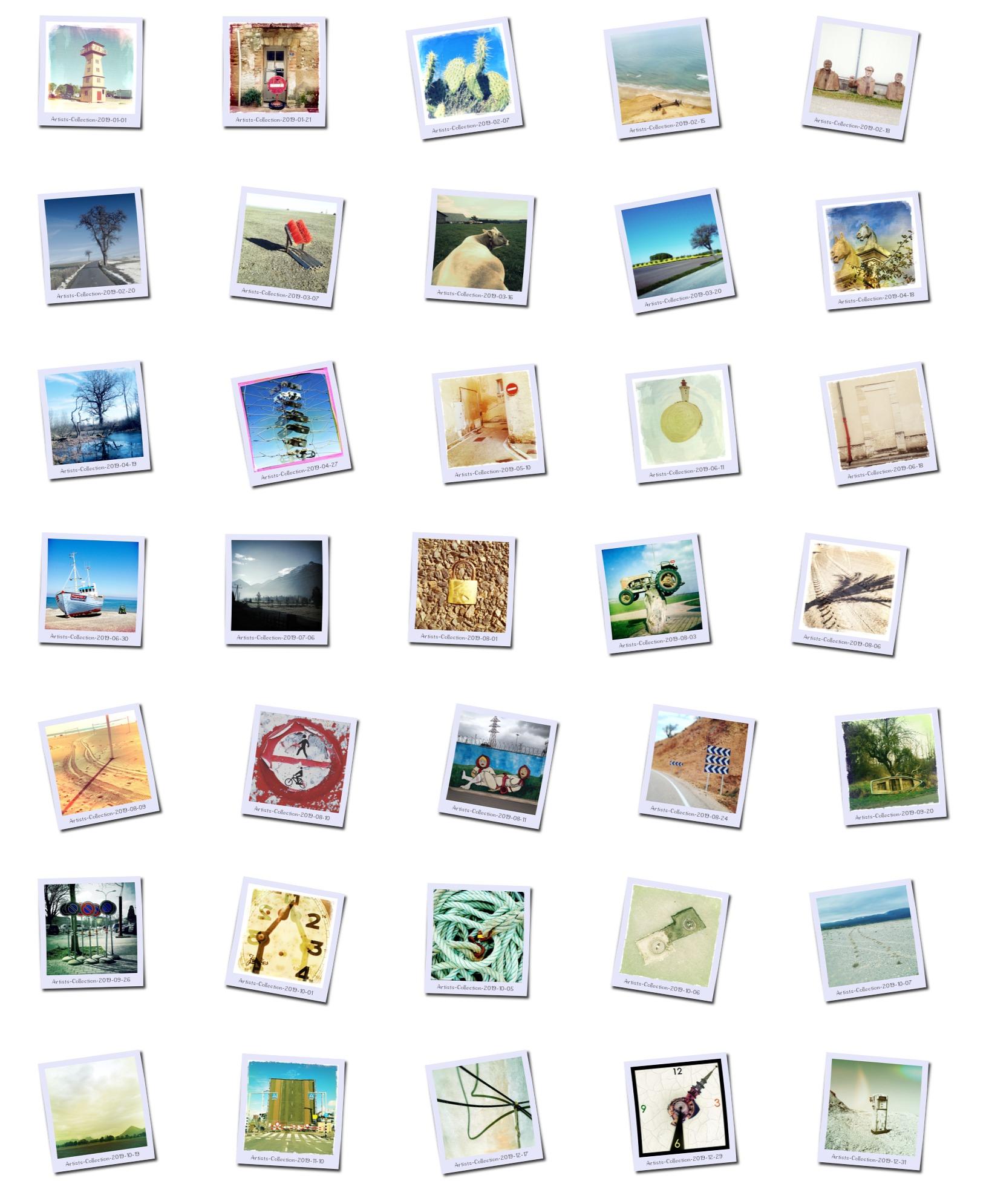 Bilder im Polaroid-Stil in fünf Spalten und sieben Reihen aarangiert zu einer Übersicht. Stark verfremdete Motive von z. B. einem Vorhängeschloss, das im Teer der Straße festgefahren ist genau in der Mitte der Bildersammlung, oder einem Kirchturm, der als Zeiger einer Uhr montiert wurde.