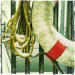 Detailaufnahme eines rot-weißen Rettungsrings (nur ein Viertel). Mit gelbem Seil und Schnee aufliegend.
