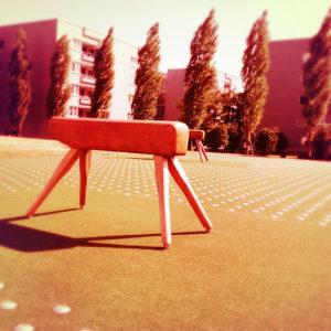 Ein Turnbock in unüblicher Umgebung, nämlich auf einem freien Platz vor einem modernen städtischen Eigentumswohnungsbaugebiet. Das Bild ist rötlich verfärbt und wirkt dystopisch
