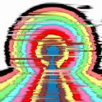 Bunte, regenbogenartige Bänder bilden eine Art Omega-Zeichen, das durch waagrechte Streifen geborchen ist und dadurch verzerrt wirkt. Farben rot, violett, mintgrün, elfenbein und schwarz.