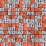 Zwölf mal zwölf quadratische Strukturbilder, die Hälfte davon grautonig, die andere rottonig zufällig arrangiert in einer Art Schachbrettmuster.