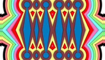 Eine Art Struktur wie in einem Prismenkaleidoskop, die entfernt an einen knallbunten alten Gliederheizkörper erinnert. Oder an die schematische technische Zeichnung eines Vierzylindermotors.