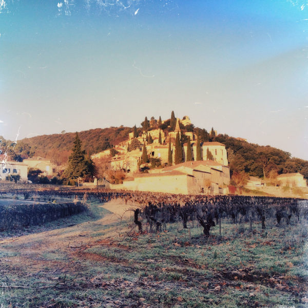 Über unter Raureif liegende Weinreben blickt man auf ein altes Dorf, das wie ein Ameisenhügel im Sonnenaufgang glänzt.