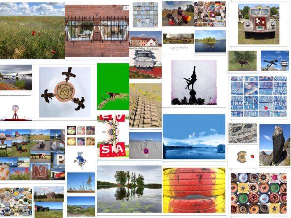 Eine Collage mit verschiedenen bunten Postkartenmotiven. Besonders hervor sticht ein Bild mit Pferd auf grüer Wiese und eine esikalte graublaue Fjordaufnahme jeweils rechts und links der Bildmitte. Bilder gesetzt in unregelmäßigem Raster.