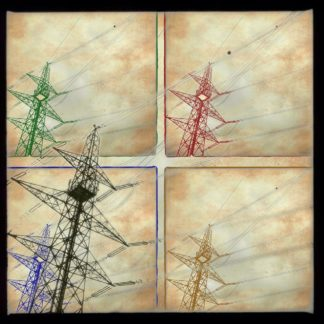 Vierercollage im Andy Warhol Stil. Strommasten als Silhouette in Froschperspektive