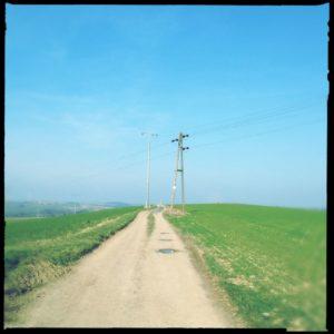 Ein Feldweg führt durch hellgrüne Felder schnurgerade auf einen Stommast zu. Darüber blauer Himmel.