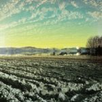 Halb Acker, frisch gepflügt und grau, halb Himmel, und dazwischen ein Streifen Silhouette ferner sanfter Berge des Schwarzwalds. Über der Stene ein gelblich-bläulich blasses Licht.
