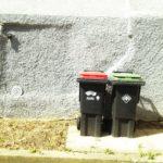 Außermittig rechts stehen eine eine Mülltonne mit rotem Deckel und eine mit grünem nebeneinander vor rau verputzter Hauswand. Der Schatten fällt nach rechts.