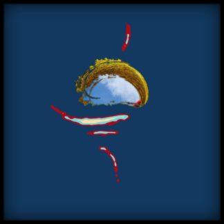 Abstrakte Formen, die wie ein Auge wirken mit rot umrandeten Falten und hellblauen Einsprengseln vor einem dunklen Blauton, der zum Rand ins Schwarze vignettiert.