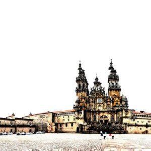 Verfremdete Aufnahme der Kathedrale in Santiago de Compostella. Die Silhouette wirkt wie in Streifen geschnitten und versetzt zusammengeklebt. Gelb und Rosa auf weißem Hintergrund mit Grau und ein bisschen Rot.
