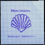 Blauer Stempel auf kariertem Papier, etwas unscharf. Aufschrift Pfälzer Jakobsweg über einer skizzierten Jakobsmuschel und darunter die Schrift Rinckenhof-Zweibrücken.
