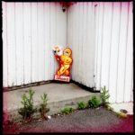 Ein kleiner Esskimo-Pappkamerad mit rot-gelbem Kostüm und riesiger Eistüte in der Ecke eines weißen Holzhauserkers auf Betonplatte, aus der wilde Gewächse wuchern. Schrift Diplo-IS