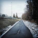 Gerade geteerte Straße mit Schneeresten neben einem Sportplatz und einem Waldrand.