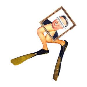 Collage eines schräg liegenden, gerahmten Bilds des nordkoreanischen Diktators, an dessen links liegenden Rand sich zwei gekrümmte Beine mit Taucherflossen anlegen. Vor weißem Hintergrund