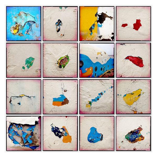 Sechzehn quadratische Bilder zu einer Collage arrangiert. Kleckse abblätternder Farbe an einer Kaimauer an der Nordsee. Sher bunt in gelb, blau, rot und weiß.