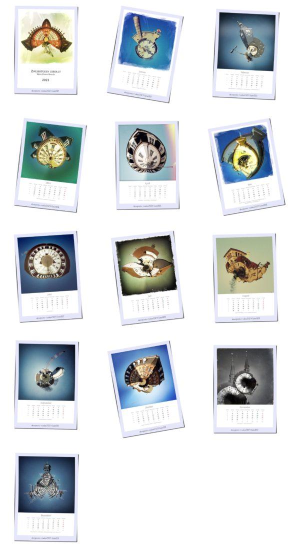 In Polaroidmanier liegen verschiedene kleine Motive von zu Planeten gedrehten Gebäuden in drei Spalten und fünf Reihen zur Ansicht. Darunter die Bildtitel und das Monatskalendarium 2021.