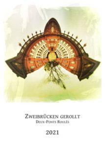 Kalender-Titelblatt mit Aufdruck Zweibrücken gerollt und einer sphärischen Darstellung eines barocken Schlosses als kleiner runder Planet. Rötlich braun und weiß bis gelblich.