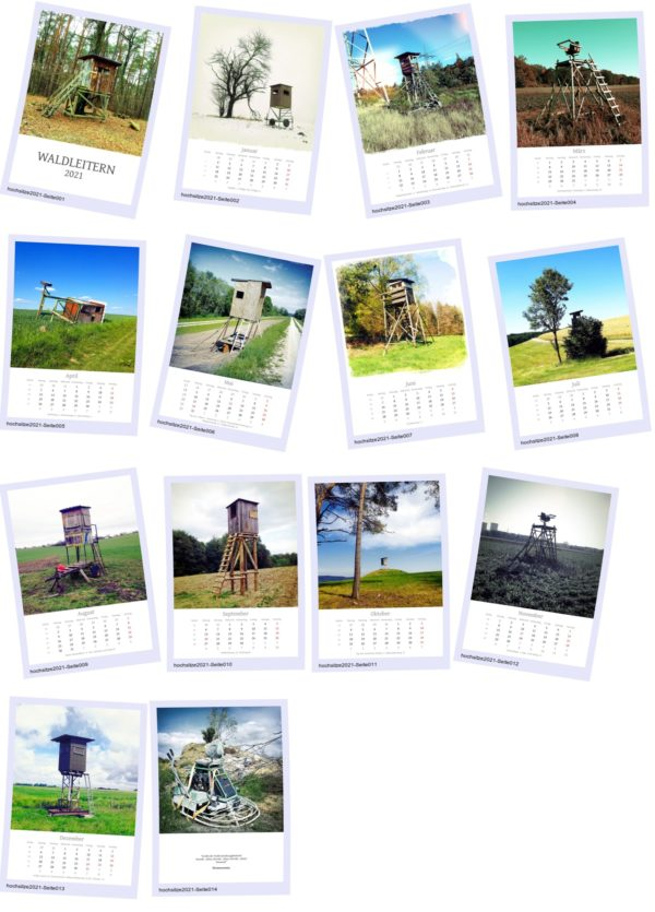 Alle Kalenderblätter mit Hochsitzen in Ploaroidmanier mit Schattierung und zufälliger Schräglage. Vier Spalten und fünf Reihen.