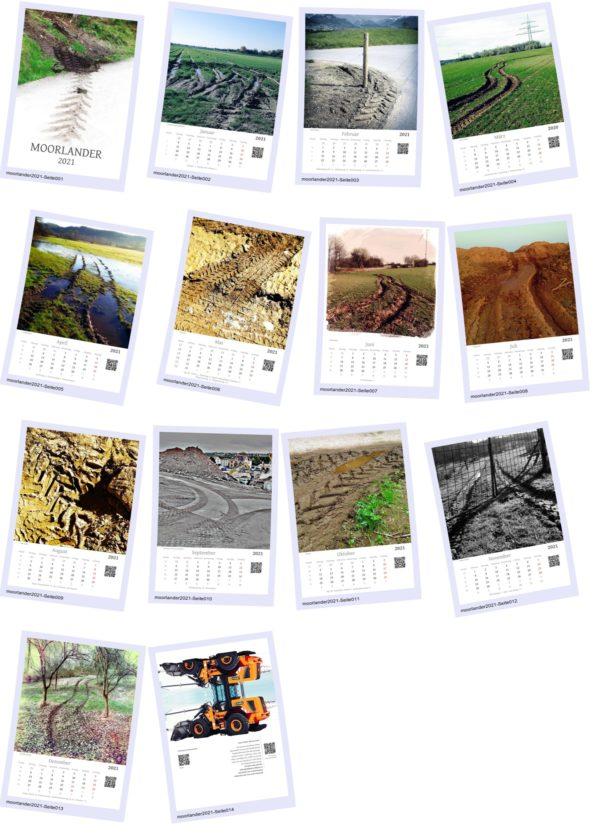 In vier Spalten und fünf Reihen sind im Polaroid-Stil alle zwölf Kalenderblätter mit Schlammspuren und Reifenabdrücken angeordnet im Polaroid-Stil. Willkürlich wie wenn man Fotos auf einem Tisch verteilt. Schicke Schattierung. Dazu noch das Deckblatt und das vierzehnte Kalenderblatt mit ein wenig Text und Infos über den Kalender, was aber in der Vorschau nicht lesbar ist, weil zu klein. Die Einzelbilder wirken ländlich, viel Gras, Natur, kaum Gebäude zu sehen, einfach nur Spuren auf Erde.