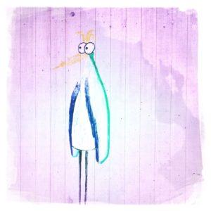 Auf rosa-pink-pastellfarbenem Grund steht ein abstrakter Menschvogel, Pinguinähnlich mit großen Kullerugen seitlich nach links blickend.