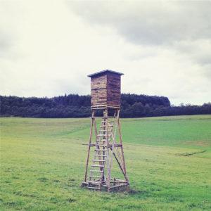 Ein freistehender Hochsitz mit recht langen Beinen auf einer Wiese. Im Hintergrund ein Wäldchen vor grau-blassem Himmel